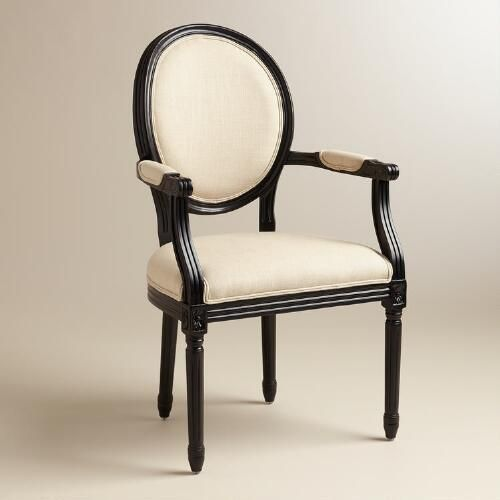 One of my favorite discoveries at WorldMarket.com: Natural Linen Paige Round Back Black Frame Armchair