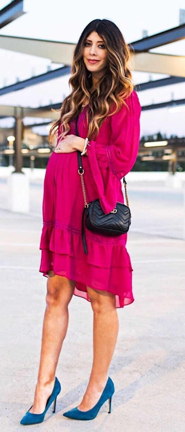 #spring #fashion Pink Dress & Navy Pumps