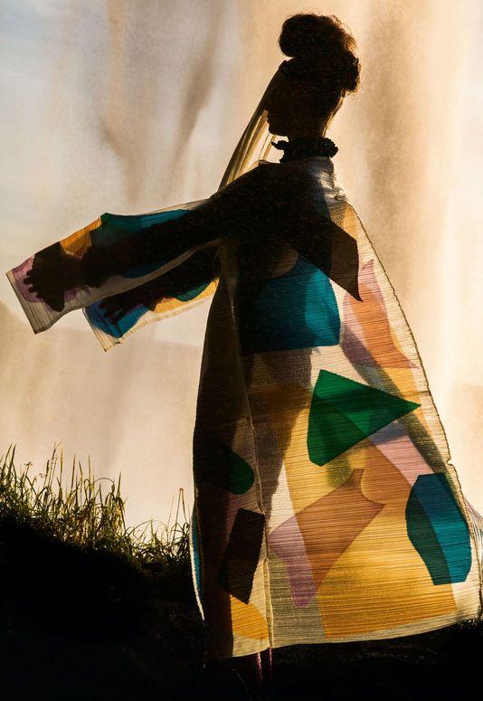 Uriko Tagaki- using transparent fabrics to create a structure and geometric quality to the work