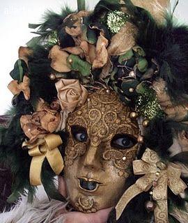 """Arta decorativa Ceramica Masca Venetiana """"Volto Foresta Nera"""""""