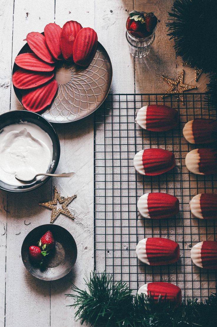 Rosemary & Strawberry Madeleines with White Chocolate