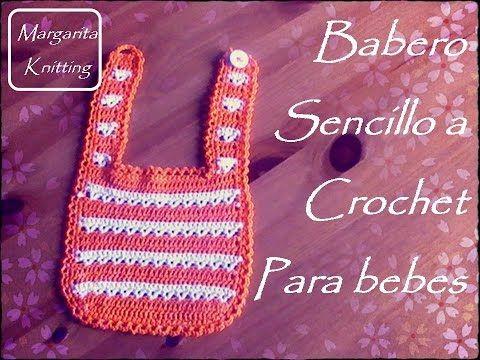 Babero sencillo a ganchillo para bebes | Margarita Knitting