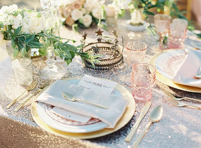 Blush and Rose Gold Wedding Decor with Lots of Sparkle