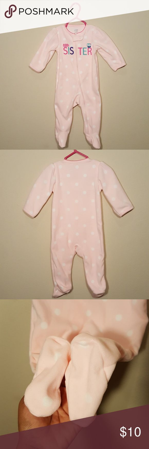 """Little Sister"" Child of Mine By Carter's Sleeper 🌟Brand New never worn.🌟 Child of Mine by Carter's Pink ""Little Sister"" Fleece Sleeper. Child of Mine made by Carter's Pajamas"
