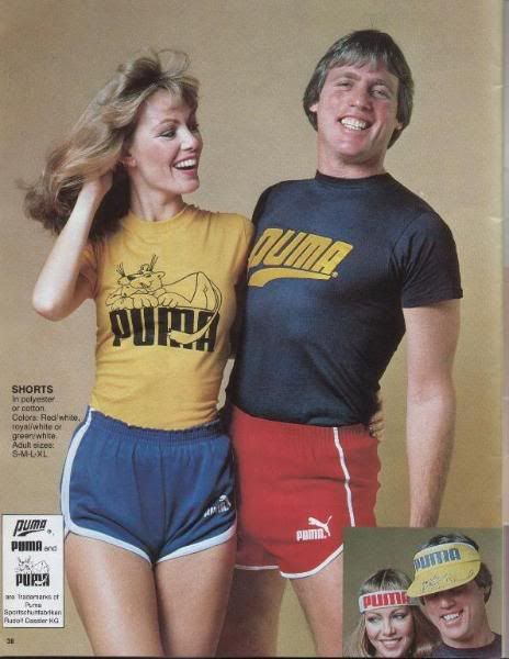 Puma sportswear... from the early 1980s. Thank goodness I had the figure for those short shorts!