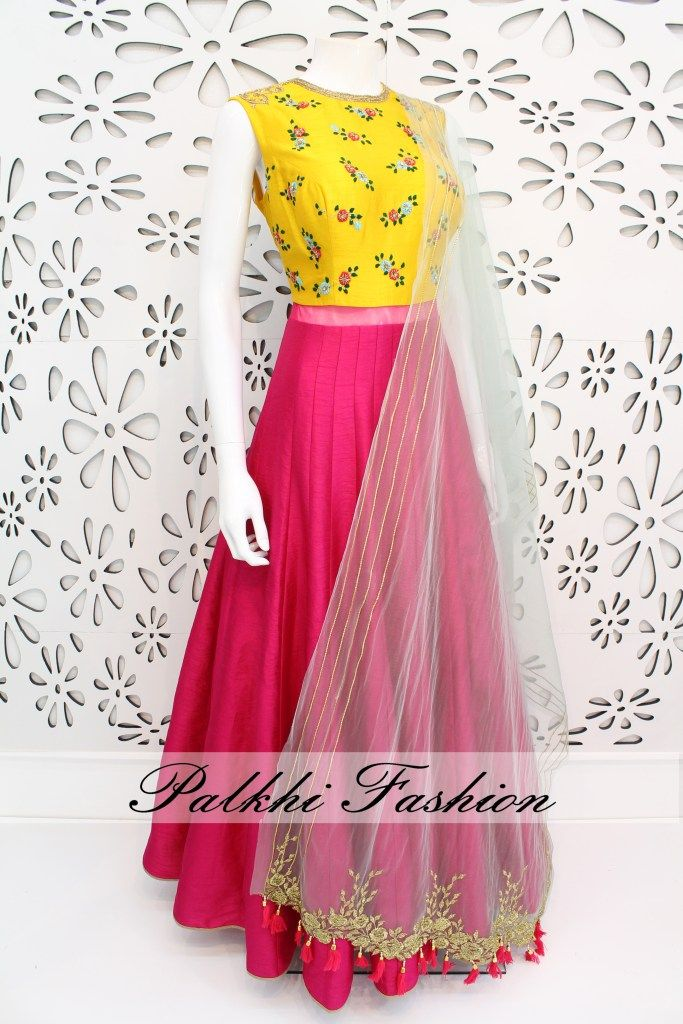 PalkhiFashion Exclusive Full Flair Deep Pink/ Light Yellow Soft Silk Outfit with Elegant Hand Work & Attractive Duppata.