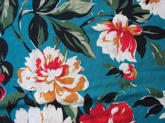 Vintage Floral Cotton Fabric Bold Flowers Teal Green Red
