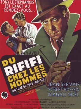 """Movie poster illustrates Tony """"le Stephanois"""" wearing a green jacket over a red background. In the background Jo """"le Suédois"""" attempts to pull a telephone away from his wife. Text at the top of the image includes the tagline """"Tony le Stephanois est exact au rendez-vous..."""". Text at the bottom of the poster reveals the original title and production credits."""