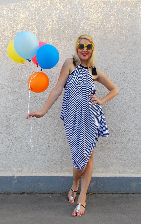 Striped Dress / Asymmetrical Striped Dress / Plus Size Dress with Stripes / Striped Maxi Dress TDK137