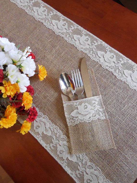 burlap and lace siverware holder wedding silverware pocket table decor utensil holder