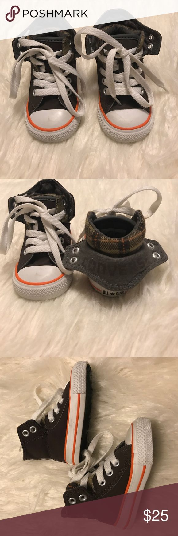 Baby two fold Converse Shoes size 3 🎉SALE🎉 Adorable converse hightops, can be folded as seen on the second image. Used once--these are practically like new--tons of life left! Converse Shoes Sneakers