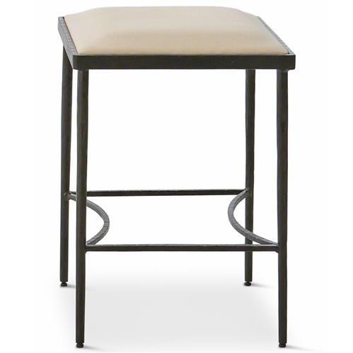 Ivan Industrial Loft Muslin Upholstered Iron Dining Stool