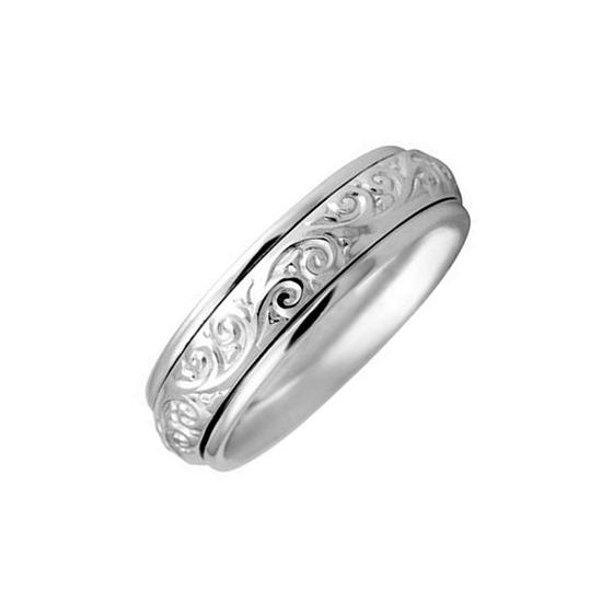 Perfect Engraved White Gold Wedding Bands