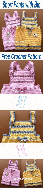 Free baby crochet pattern for short pants with bib. #crochet