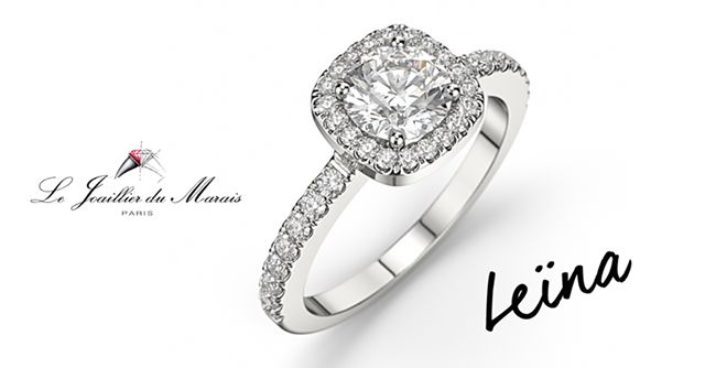 LEÏNA en or 18 kt ou platine. elle se compose d'un diamant au centre de 0,70 carat de qualité G SI1 mis en valeur par un entourage en forme de coussin 36 diamants de qualité G SI1 pour un poids total de 0.40 carat.