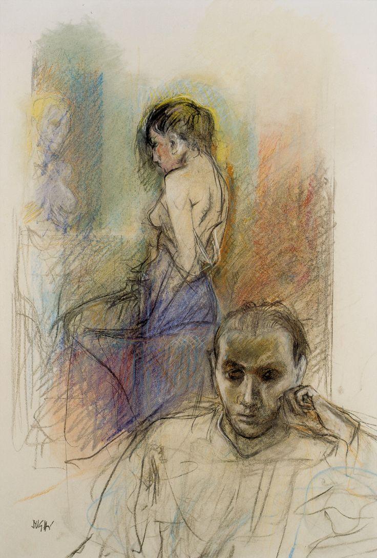 ALBERTO SUGHI - Un uomo e una donna, 2005 - Opera su carta applicata su tela