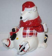 Vintage MRS FIELDS Christmas Coca Cola Polar Bear Penguine Cookie Jar, Coke Adv.