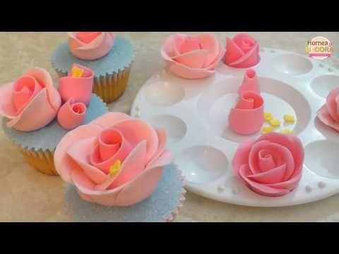 Mini Rosas de fondant (sin cortadores) / Hornea y Decora - YouTube