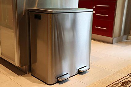 Oliver Smith Extra Large Step Trash Can Recycler Combo Stainless Steel Slow Close 30 L Garbage Recycling 16 Gal Home Kitchen