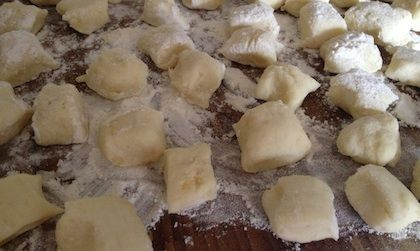 I made gnocchi and they met with rave reviews from the Giggle Pops. So next time I made gnocchi the kids got involved and they loved it.