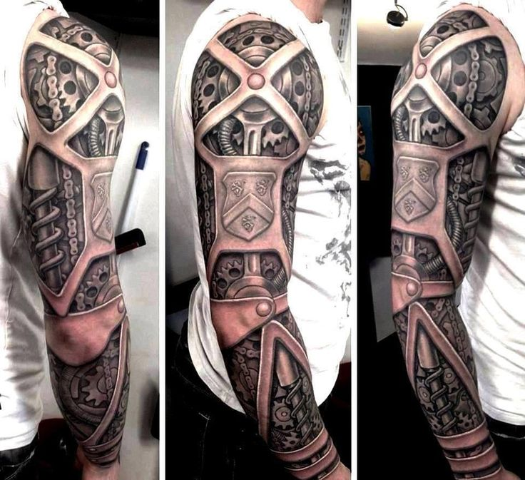Mechanical Arm Tattoo ... very cool and disturbing at the same time