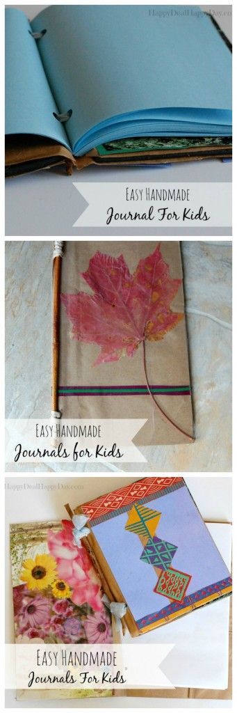 Easy Handmade Journals For Kids - you just need computer paper, a paper bag, rubber bands and a stick!  Super great for kids creative writing or nature collecting journals!  happydealhappyday.com