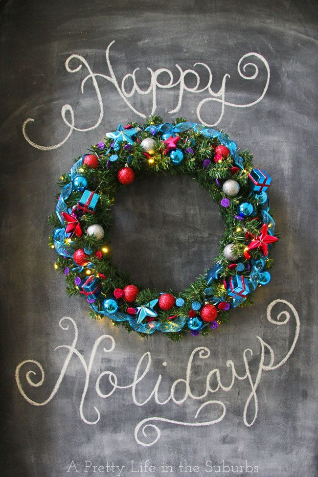 Holiday Wreath & Chalkboard Feature Wall - A Pretty Life In The Suburbs