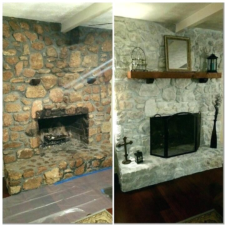 River Rock Fireplace Remodel Rock Fireplace Makeover White
