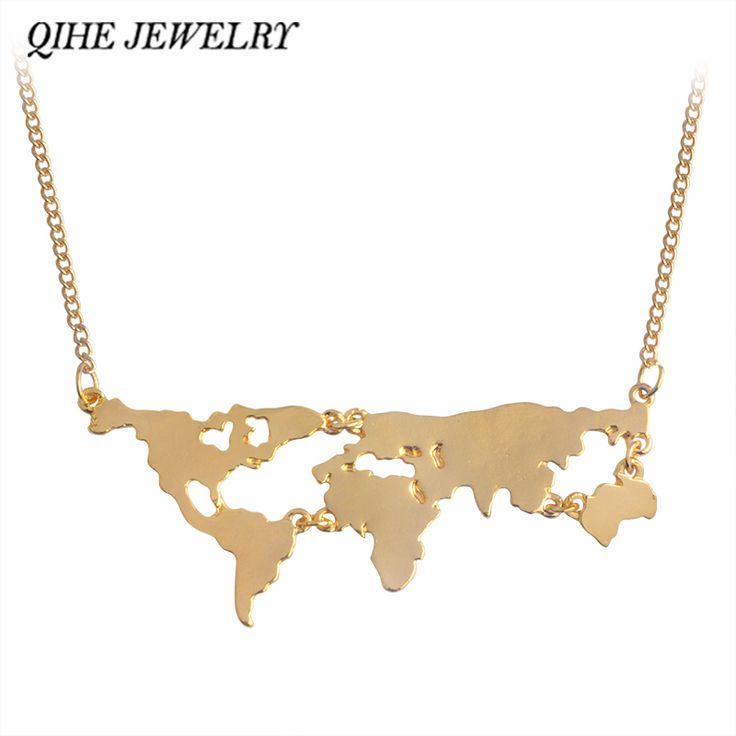 QIHE QH-GIOIELLI In Oro Argento Nero 3 Colore Globe World Map Pendente Della Collana Personalità Studente Insegnante Regali Terra Commercio All'ingrosso Dei Monili