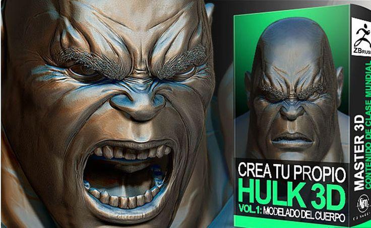 Curso Hulk Vol 1Cómo crear tu propio Hulk Comic-realista cuerpo, manos, pies y cabeza Zbrush ESPAÑOL