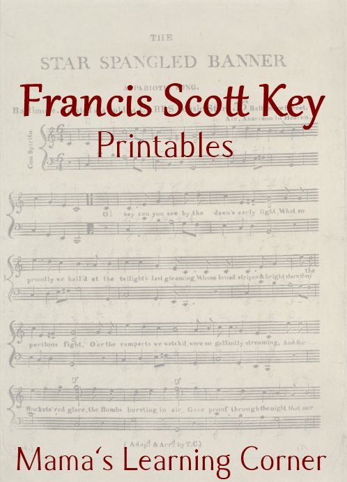"""Francis Scott Key FREE printables Music Lesson.  In this packet, you'll find: Francis Scott Key fill-in-the-blank, """"The Star-Spangled Banner"""" create-a-word  Confused version of """"The Star-Spangled Banner!"""" (choose the correct word), Francis Scott Key copywork"""
