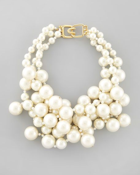 Chunky pearl necklace...Kenneth Jay Lane - Simulated Pearl Cluster Necklace, Ivory