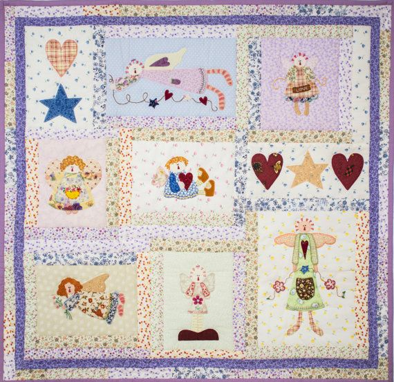 Nursery decorations wall hanging Quilt hand made applique