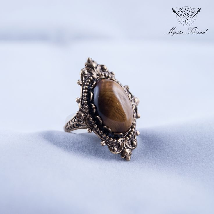 Tiger's eye gothic victorian adjustable ring / e-shop: www.mysticthread.com / facebook: www.facebook.com/mysticthread.ltd  #gothicring #victorianring #tigereyering #gothicjewelry #victorianjewelry #adjustablering #mysticthread #adjustable #ring #jewelry #accessories #vintage