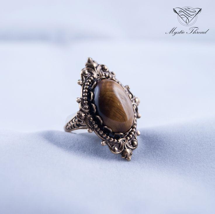 Tiger's eye gothic victorian adjustable ring / e-shop: www.mysticthread.com / facebook: www.facebook.com/mysticthread.ltd  #gothicring #victorianring #tigereyering #gothicjewelry #victorianjewelry #adjustablering #gothicrings #victorianrings #vintagering #vintagerings