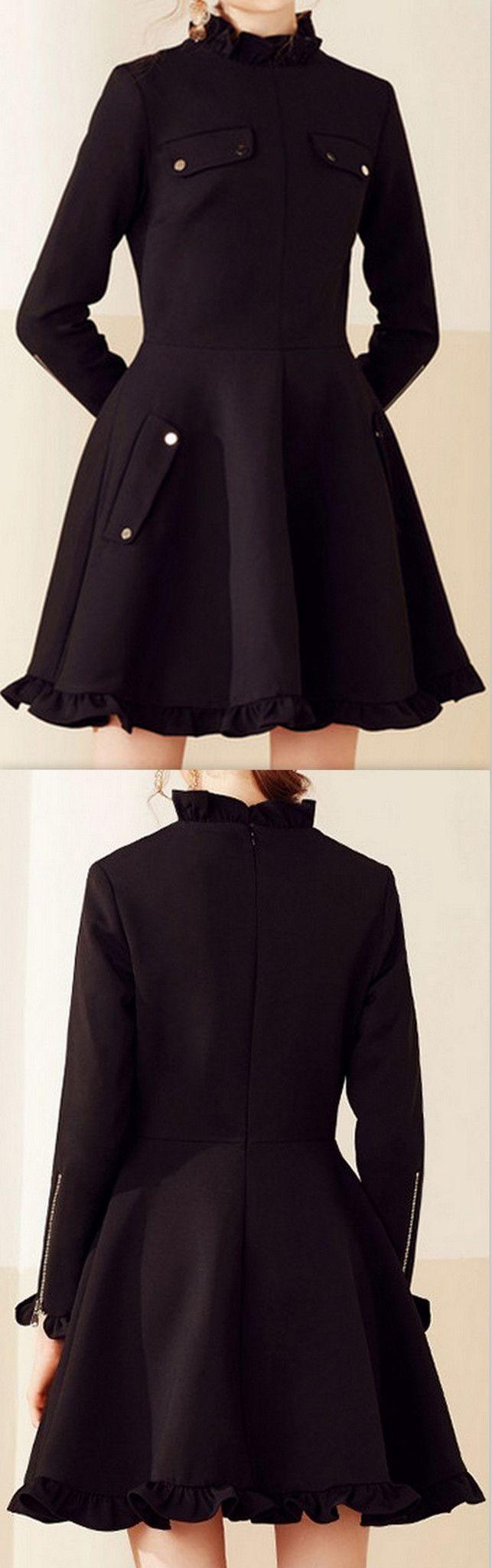 Black Long-Sleeve Ruffle Trim Mini Dress