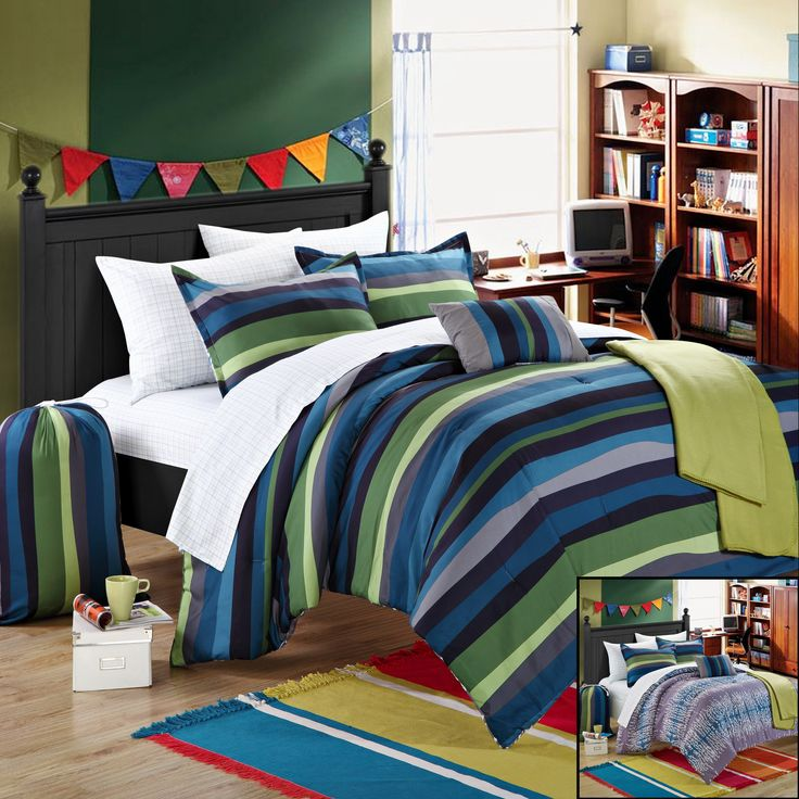 Chic Home Kyle 10-Piece Comforter Set Full Size, Shams Decorative Pillows and Sheet Set Included #BacktoSchool Bedding Set. #LuxBed #Chic Home.