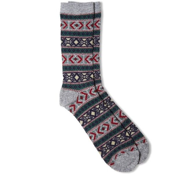 Anonymous Ism Jacquard Wool Crew Sock ($26) ❤ liked on Polyvore featuring men's fashion, men's clothing, men's socks, grey, mens grey crew socks, mens woolen socks, mens gray socks, mens wool socks and mens grey socks