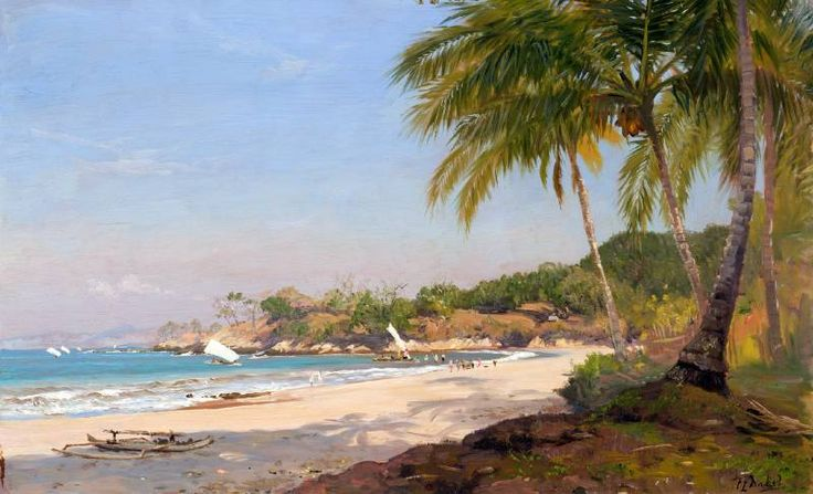 Carel Lodewijk Dake Jr. - Prauwen op het strand in de Wijnkoopsbaai, West-Java.