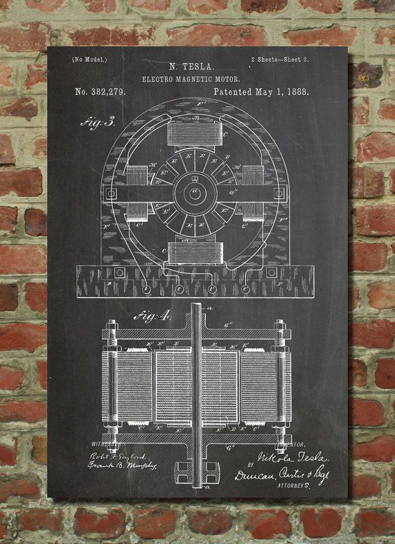 Tesla Electric Motor 1888 Wall Art Poster