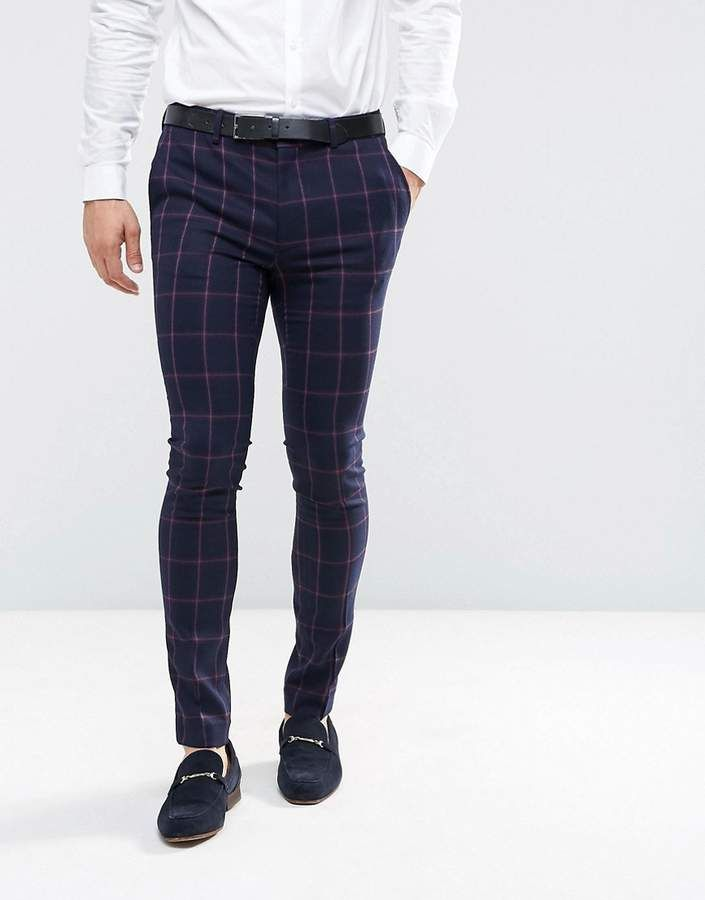 084d5d4d2bef1 Asos Super Skinny Suit Trousers In Navy And Pink Windowpane Check ...