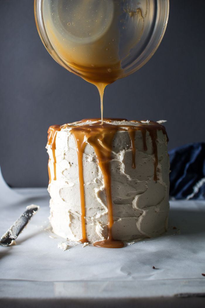 triple layer chocolate cake with salted caramel buttercream frosting
