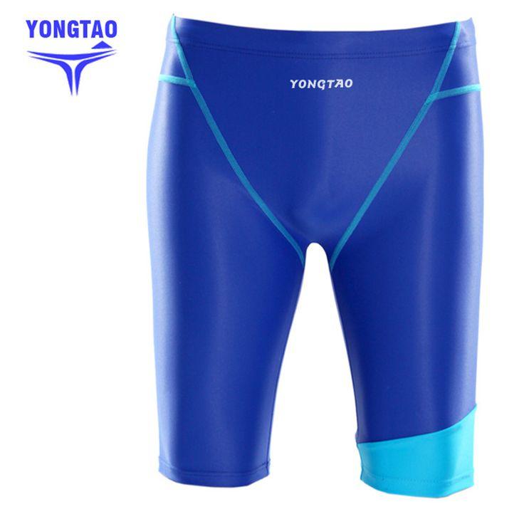 2017 Solid Swimming Trunks Men Professional Swim Jammers Long Swim Trunks Pants Closed To Body Racing Swimsuit Male Swimwear