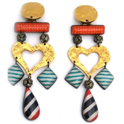 Vintage Christian Lacroix Resin Rhinestone Heart Earrings[LG26] Christian Lacroix $395.00