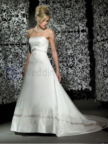 Ball Gown Satin Embroidered Bodice Strapless Neckline Chapel Length Wedding Dresses