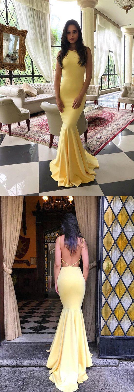 yellow prom dress,mermaid prom dress,mermaid evening dress,open back prom dress,prom long dresses,sexy prom dresses 2018 #longpromdresses