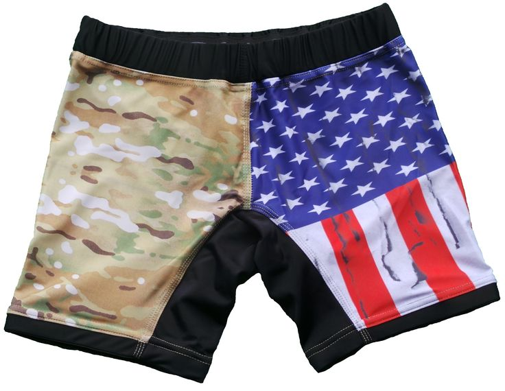 USA Flag & Camo Vale Tudo Compression Shorts (XL, Multicam). Heavy duty stretch fabric. Non-slip inner grip to prevent sliding. Internal Drawstring in waistband. Reinforced stitching for maximum durability.