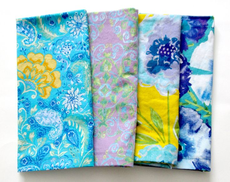 Cloth Napkins - Set of 4 - Dinner, Table, Everyday, Wedding - Mismatched, Assorted, Variety - Yellow Blue Purple Flowers Floral Ikat by ClearSkyHome on Etsy