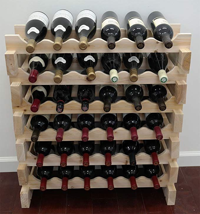 Wine Cellar Amazon Com Displaygifts 36 Bottle Capacity Stackable Storage Wine Rack Wobble Free Thicker Wood Wn36 With Images Stackable Storage Wine Rack Wine Storage