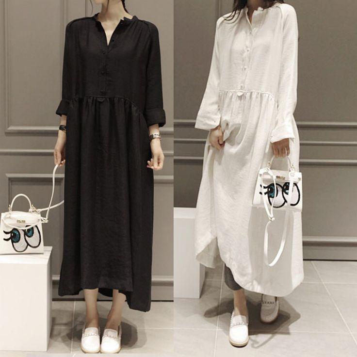 2016 Spring Summer Fairy Linen Dress Plus Size Long Sleeved Women Dress High Low Hem Maxi Dress Party Dresses White Dresses S09
